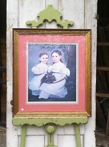 Vtg Large Victorian Girls Sisters Print In Wood Gold Painted Frame 27 X 30
