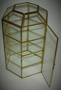 Vintage 6 Sided Hexagon Brass Glass Table Top Display Case 13 75 T W 3 Shelve