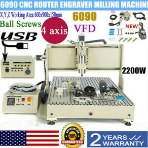 4 Axis 6090 Cnc Router Metal Engraver 3d Milling Machine Spindle Motor Vfd 2 2kw