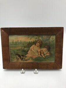 Antique Victorian Print In Early Wood Frame Children Playing With Cat