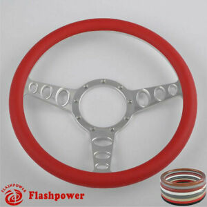 15 5 Billet Steering Wheel Red Leather Muscle Car Chevette Brookwood Gmc Gto