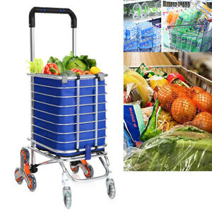 Folding Shopping Cart Grocery Trolley Laundry Stair Climbing Large Handcart