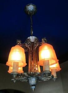 1930s Antique Art Deco Bell Slip Shade Chandelier Antique Gothic Vintage Light