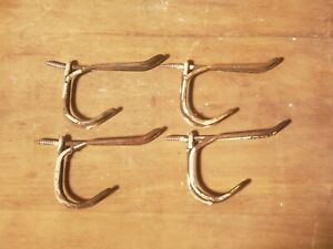Antique Lot Of 4 Twisted Wire Coat Hooks School House Diy Farm House Craft Lot A