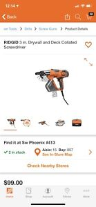Ridgid R6791 3in Drywall And Deck Collated Screwdriver
