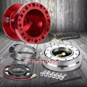 Red Steering Wheel Hub Adapter silver Quick Release For 92 95 Integra Dc2 civic