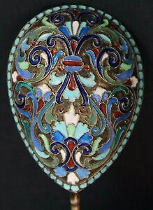 Vintage Large 7 Inch Spoon Cloisonne Enamel Silver 84 Russian Imperial Antique