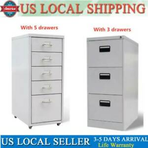 1x Deep Vertical 3 5 Drawer File Cabinet File Storage Organizer Home Office Gray