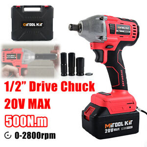 Cordless 1 2 Brushless Impact Wrench High Torque Rattle Gun Rachet Battery 20v
