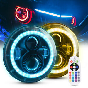 Mictuning Led Headlight 7 Round 80w Rgb Offroad Lamp For Jeep Wrangle Jk Lj Tj