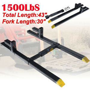 2000lb 43 Clamp On Pallet Forks Bucket Skid Steer Tractor W stabilizer Bar