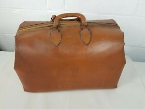 Vintage Doctors Bag Leather Brown Cle Oh Dr With Newsprint