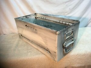 Vintage Shabby Cottage White Metal File Box Wall Shelf Organizer