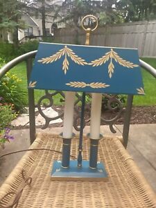 Vintage French Empire Bouillotte Blue Green Tole Painted Antique Lamp