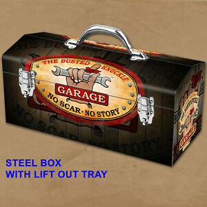 Portable Steel Mechanic Toolbox Busted Knuckle Garage