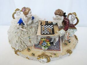 Antique German Unterweissbach Large Porcelain Lace Chess Game Figurine Statue 17