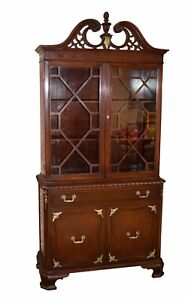 Vintage Carved Mahogany Regency Style China Cabinet W Gold Highlights