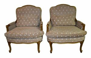 Pair Of Vintage Oversized French Provincial Chairs In A Gold Finish