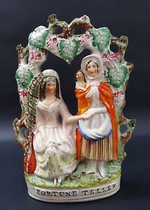 Antique Victorian Staffordshire Flat Back Group The Fortune Teller Figurine