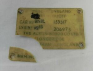 Original Vintage Austin Body Data Tag Car 153317 Engine 206975 Classic