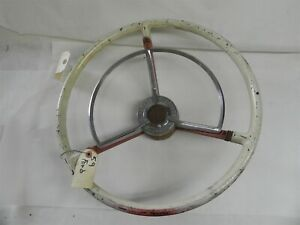1959 Ford Original Vintage Used Antique Steering Wheel And Attached Horn Ring
