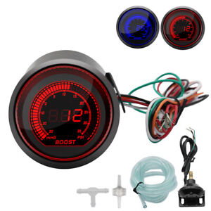 52mm Clear Display Digital Gauge Boost Vacuum Turbo Meter Blue Red Smoke Led Psi