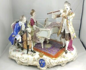 Vintage Huge Large Volkstedt Dresden Porcelain Figurine Group Piano Instruments