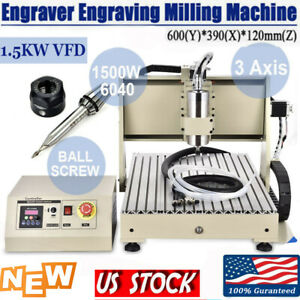 1 5kw 3axis Cnc 6040 Er11 Collet Router Engraver Drill Cutter Machine 24000 Rpm