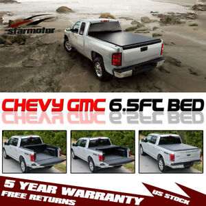 Roll Up Tonneau Cover For Chevy Silverado Gmc Sierra 1500 2500 3500hd 6 5ft Bed