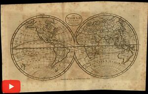 World Double Hemispheres Map 1798 Rollinson American Made Wheat Brun 40