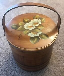 Firkin Vintage Large Sewing Box Painted Floral Top