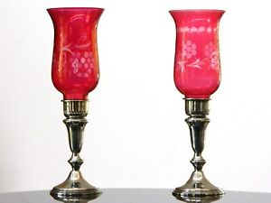 Lot 2 Vtg Empire Sterling Silver Candle Holders W Cranberry Red Glass Hurricane