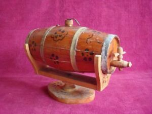 Antique Wood Wooden Barrel Cask Keg Whisky Brandy 4 Bands With Stand Usable