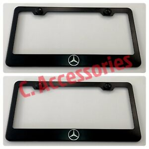 2x Mercedes Amg Engraved Etched Stainless Steel Black License Plate Frame