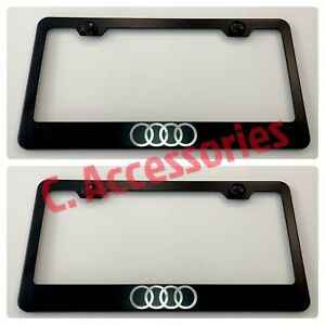 2x Audi Quattro Sline Engraved Etched Stainless Steel Black License Frame