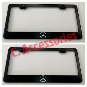 2x Mercedes Amg Engraved Etched Stainless Steel Black License Frame
