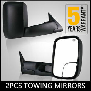 2pc Fit 98 01 Dodge Ram 1500 98 02 Ram 2500 3500 Manual Flip Up Tow Side Mirrors
