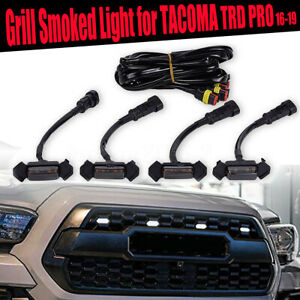 For Tacoma Trd Pro 2016 2019 Front Bumper Hood Led Grill Marker Light Smoked