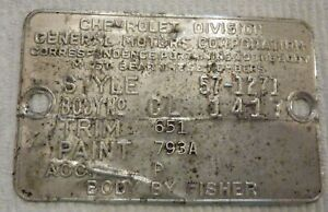 1957 57 Chevrolet Chevy 150 2 Door Sedan Delivery Tag Data Plate Cl 1417 Oem