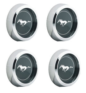 New 1965 1973 Ford Mustang Magnum 500 Wheel Center Caps Chrome 2 1 8 Size Set