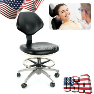 Dental Pu Leather Mobile Chair Adjustable Stool 360 Rotation Dentist Chair New