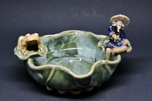 Chinese Vintage Mud Man And Frog Bowl 5 Inches Wide