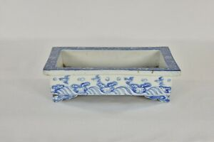 Antique Chinese Japanese Blue White Porcelain Flower Pot 19th C
