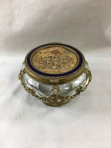 Fine Antique French Gilt Bronze Glass Enamel Keepsake Box