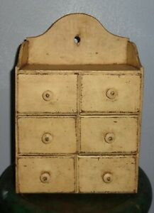 Old 6 Drawer Pure Food Spice Cabinet Ohio Box Cupboard Mustard Paint Chest Aafa