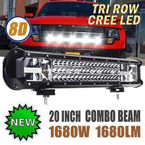 8d 3 Row Cree 20 inch 1680w Led Light Bar Combo Flood Spot 19 Bright White Us