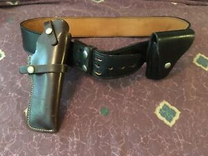 Black Sam Browne Belt W handcuff Holder Brown Holster Size 40