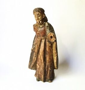 Antique 18th 19th C Spanish Colonial Carved Wood Santos Figure Of Jesus 10
