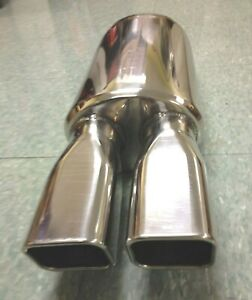 Double Dual 3 X 2 5 8 Tip Universal Sport Stainless Performance Muffler M P 85