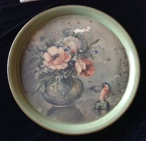 Vintage Hand Decorated Tole By Pilgrim Art No 202 18 3 8 Green Metal Tray